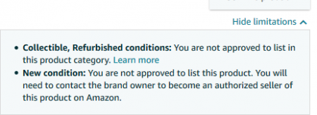 Seller Not Authorized to List a Product (category limitations)