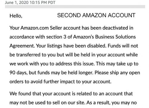 section 3 amazon seller suspended